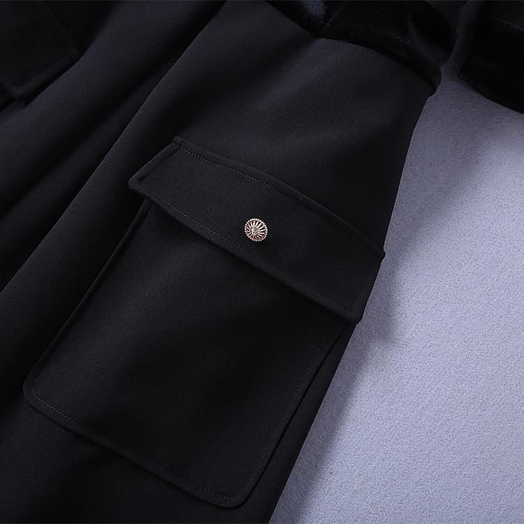 Élégant Noir Robe Velours 2019 Haute cou Moitié Femmes Printemps Manches Robes O Piste Parti Bureau Dames Patchwork Qualité iOPuTkXZ