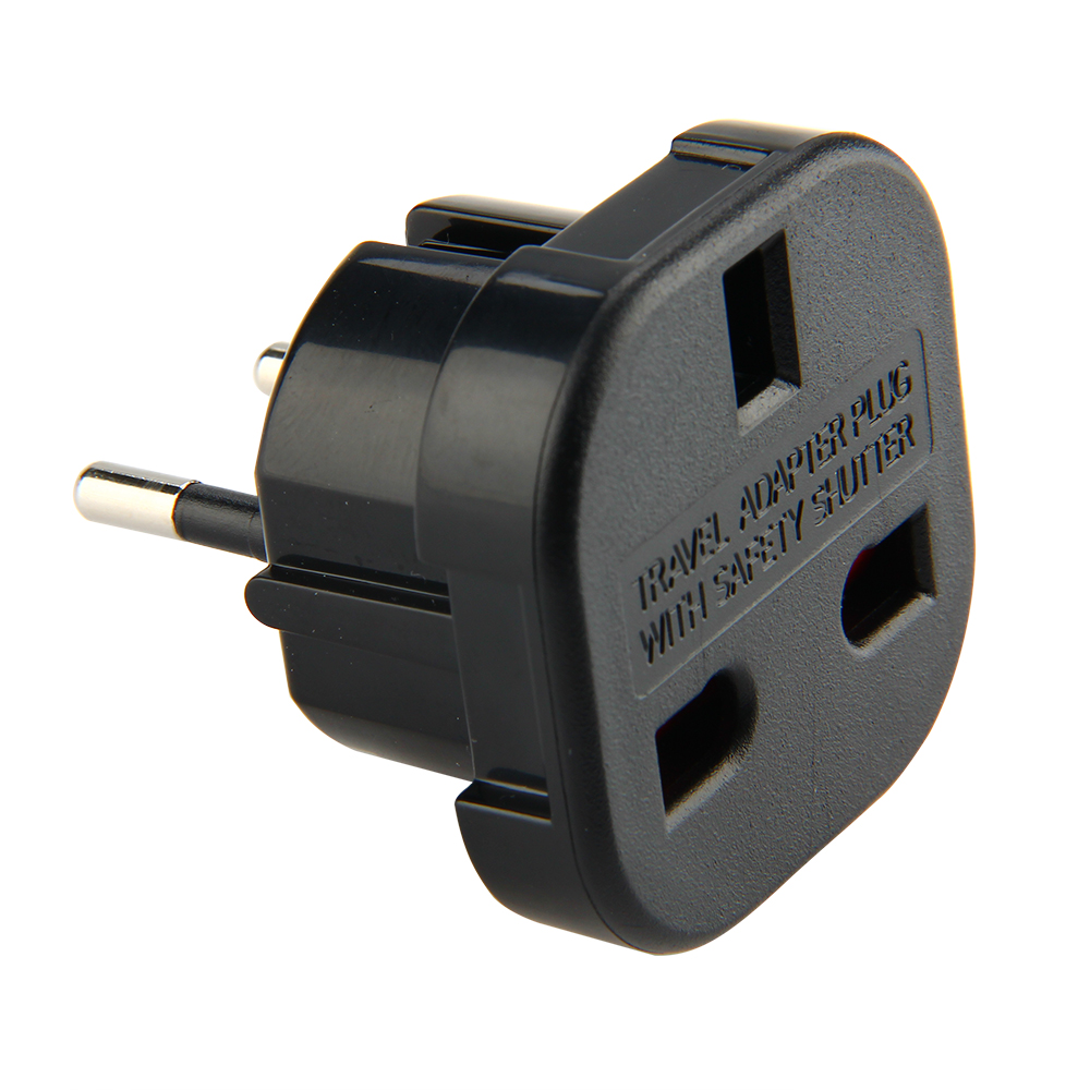 International Travel Plug UK to EU Adapter 2 Pins Universal AC Power Wall Socket Outlet Charger Converter European to British image