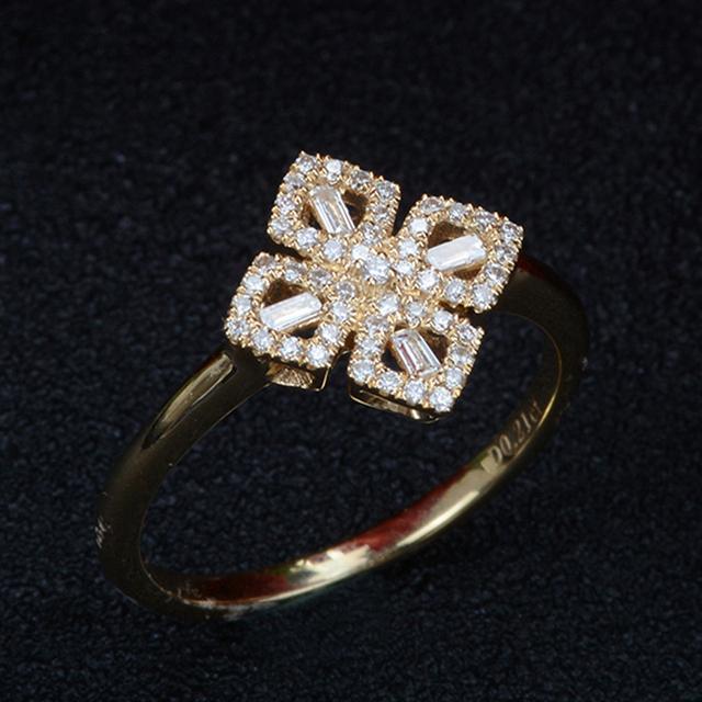 18K Yellow Gold Real Diamond Wedding Engagement Ring