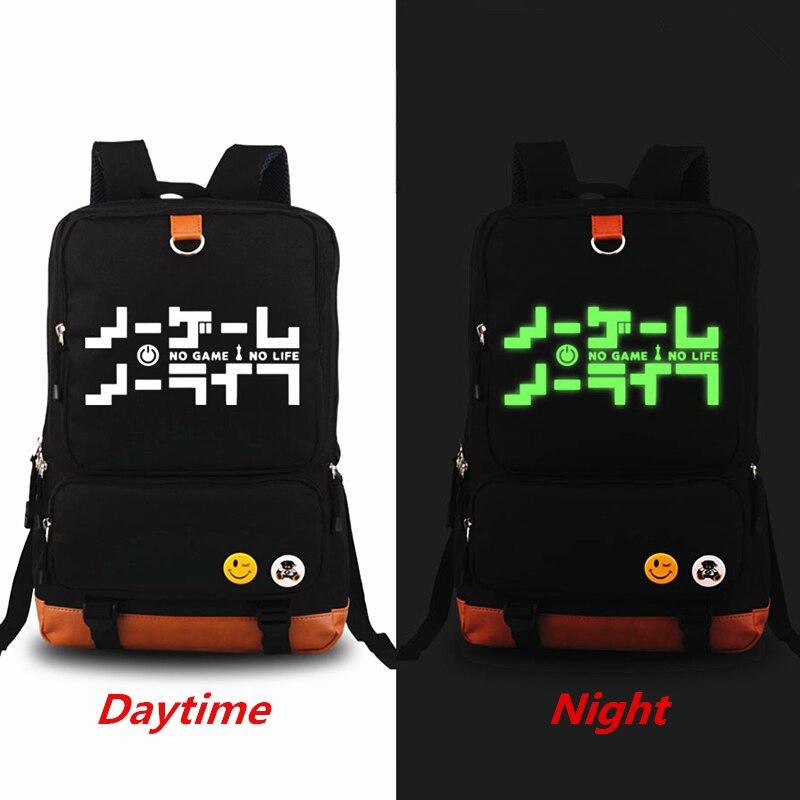 2018 New No Game No Life Luminous Printing Backpacks Cosplay School Bags Large Capacity Laptop Travel Bags bolsa feminina