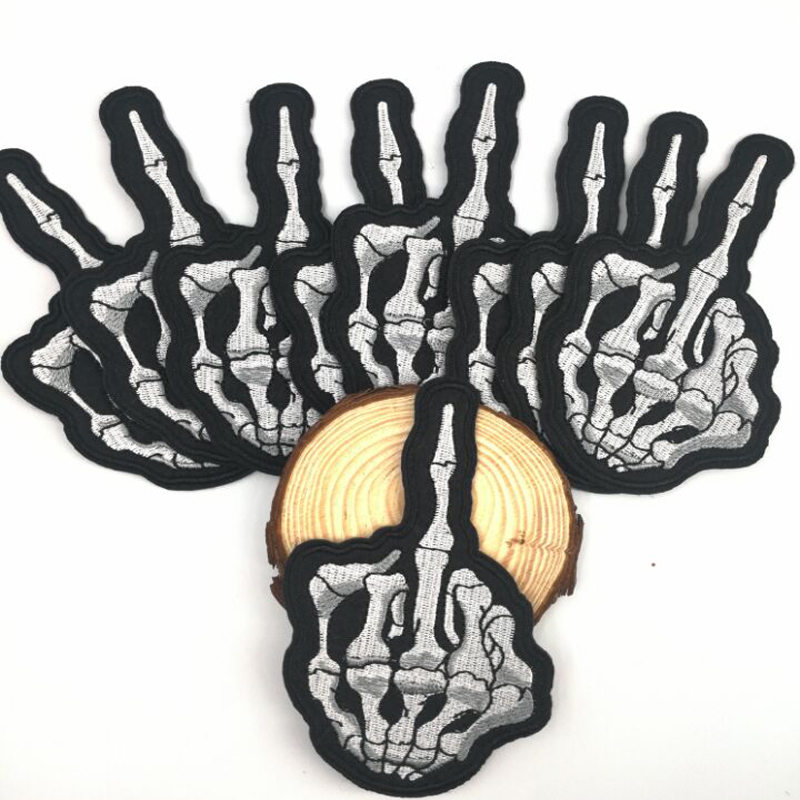 10pcs Skull Middle Finger patch Skeleton Bone Ghost Hog Outlaw Hot Rod T shirt Patch Iron-on Embroidered Badge hat patch