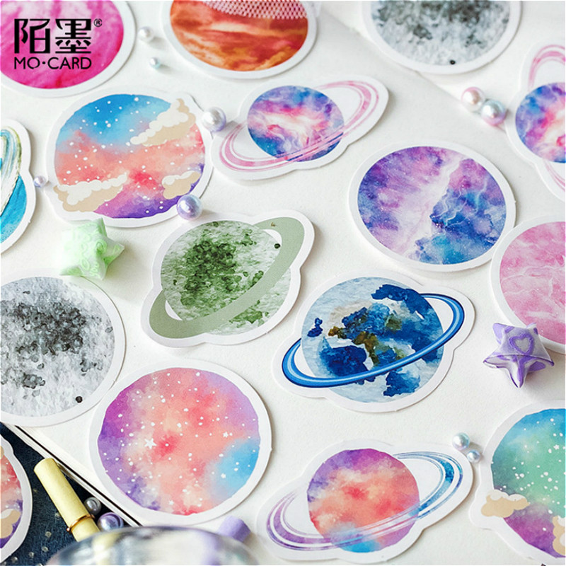 40Pcs/lot Cartoon Cosmos Planet Stickers For Snowboard Laptop Luggage Car Fridge Car Toy Stickers Gift Beauty
