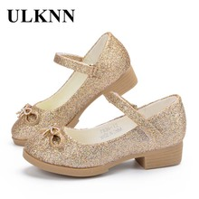 ULKNN Girls Sandals Princess Shoes High Quality Leather Glitter Heels Summer Party Shoes for Girl Baby Kids Sandals GOLD FLAT