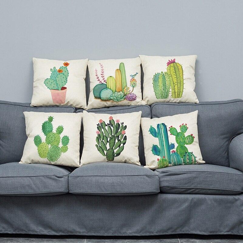 Plant Pillow Cover Succulent Cactus Pillow Case Colorful Cactus Cushion Cover for Home Sofa Decoration Pillowcase 45*45cm