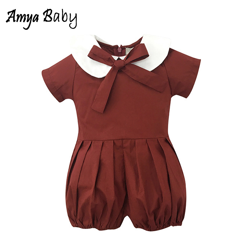 AmyaBaby Newborn Baby Girl Romper Doll Collar Short Sleeve Infant Baby Christmas Jumpsuit Bow Toddler Baby Cute Bloomers Pajamas
