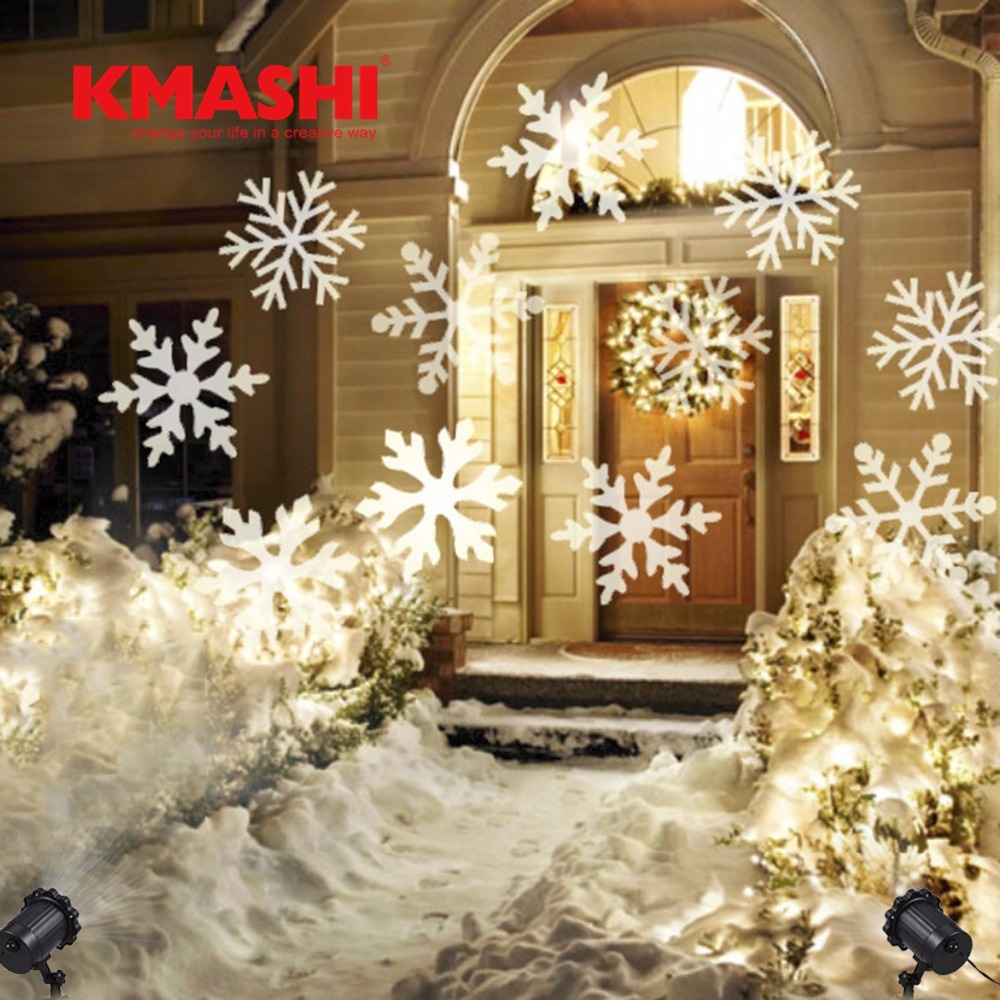 Kmashi Christmas Snowflakes LED Stage Lights Holiday White RGB Sparkling Landscape Projector Lawn Garden Wall Decoration Lamp EU
