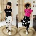 Подросток девушки мода детская одежда набор девочек 2-16 год летние детская одежда установить короткий рукав футболки + брюки девушка набор