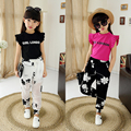 Teenager girls fashion children clothing set wear girls to 2-16 year summer kids clothes set short sleeve shirts + pant girl set