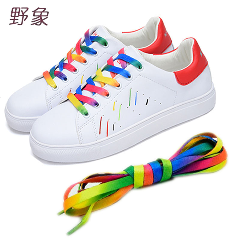 low price1piece Rainbow Multi-Colors shoelace  Flat Sports Shoe Laces Strings Strap for Sneakers Unisex rainbow shoelace 110cm