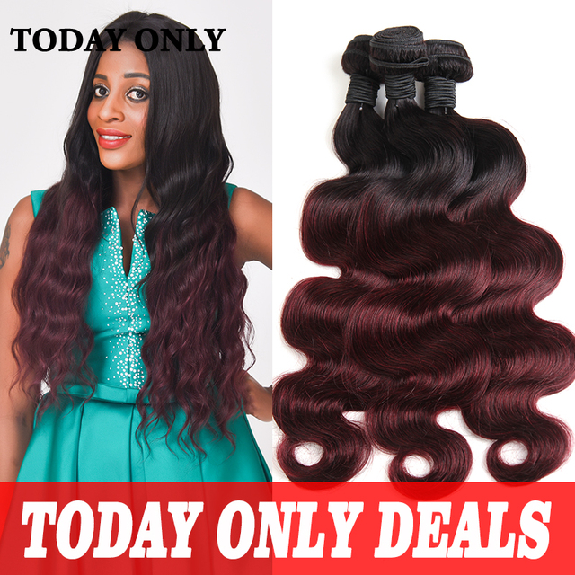 Burgundy Brazilian Hair Weave Bundles Mink Brazilian Virgin Hair