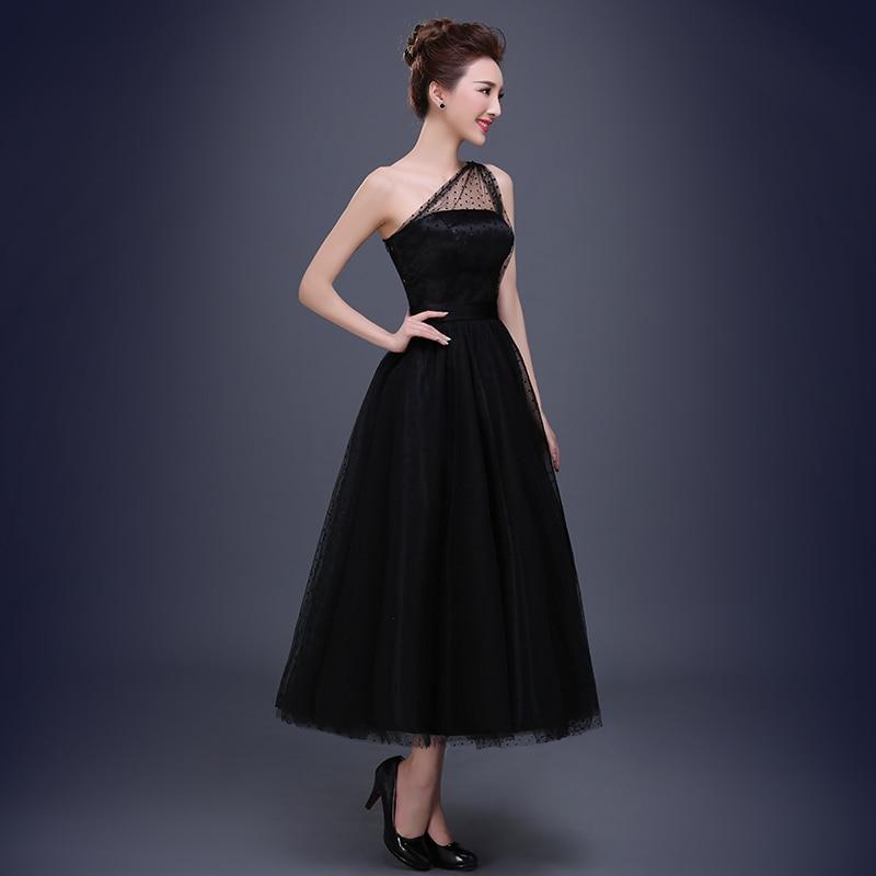 Increíble Vestido De Dama De Negro Un Hombro Bandera - Vestido de ...