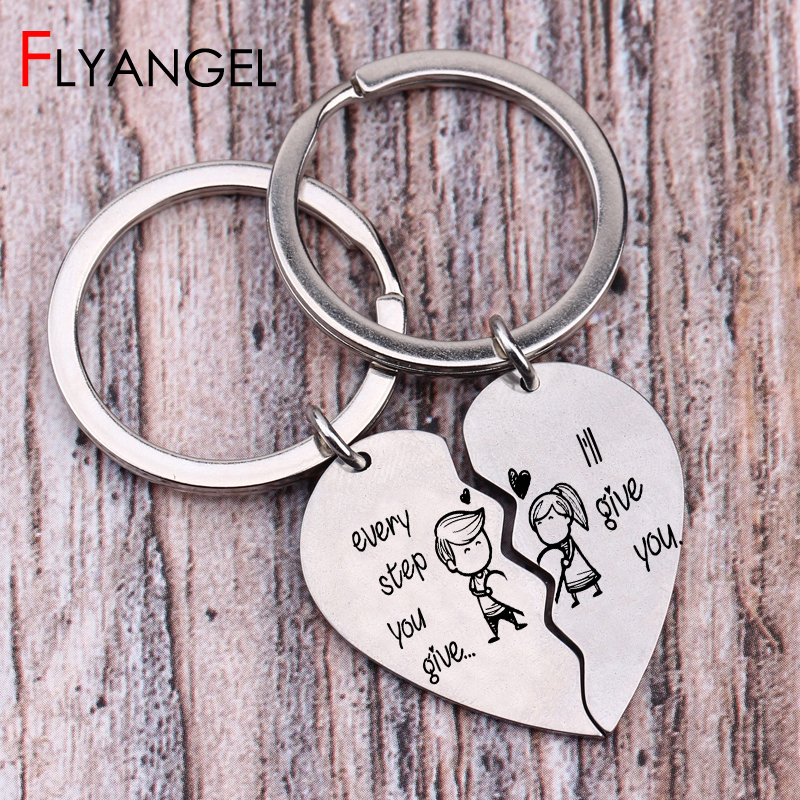 2 PCS Cartoon Lover Stick Figure Lettering Key Chains Engraved Every Step You Give Ill Give You Keyring Lovers Couples Key Tag2 PCS Cartoon Lover Stick Figure Lettering Key Chains Engraved Every Step You Give Ill Give You Keyring Lovers Couples Key Tag