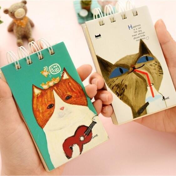 8pcs/lot Vintage Kawaii Cat Story Kraft paper Coil Mini notebook Diary agenda pocket book Nice gift prize office school supply