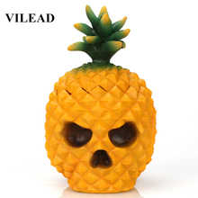 VILEAD 6.3 Resin Skull Pineapple Figurines Halloween Decoration Storage Box Fruite Ornament Gifts Home Decor