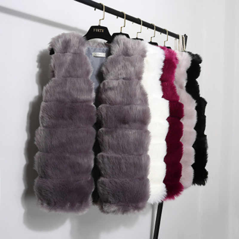c78407c328 JAPPKBH Faux Fur Winter Coat Women Casual Warm Slim Solid Fur Vest Ladies  Vintage Elegant Sleeveless
