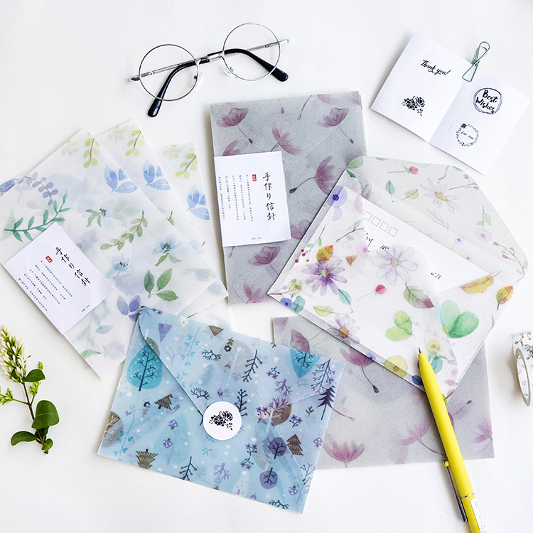 3 Envelopes/Pack Novelty Flower And Nature Series Parchment Paper Envelope For Gift Korean Stationery