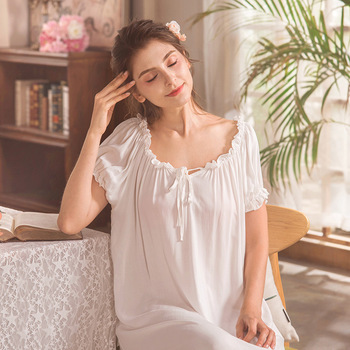 Short Puff Sleeves Long Nightgowns for Women White Vintage ...