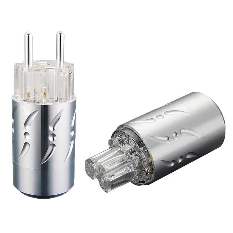 Pair Transparent Aluminium Alloy VE512S VF512S Pure Copper Silver Plated EU Plug Type Schuko Power Plug Hifi & IEC Connectors цена