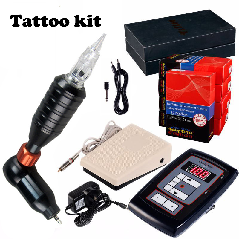 100-240V Digital Rotary Tattoo Machine Set With Tattoo Gun Tattoo Ink Cartridges Forever Makeup Tattoo Kit