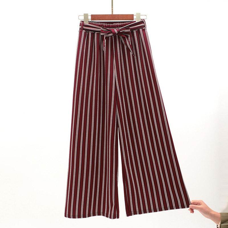 Navy Blue Wide Leg Cropped Pants 2019 Spring Summer Elegant High Waist Women Striped Pants Bow Tie Lace-up Loose Pants 4