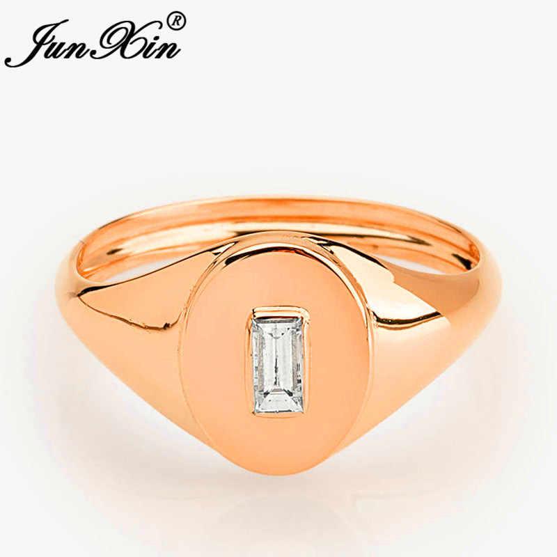JUNXIN 女性男性の婚約指輪男性ローズイエローゴールドフィル平方白色結晶ジルコン石の結婚指輪女性