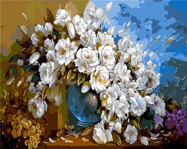 Putih Bunga Kecil Anggur Lukisan Minyak Gambar Dengan Angka
