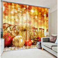 Christmas Decorations Luxury Blackout 3D Curtains For Living Room Bedding Room Office Drapes Cotinas Para Sala