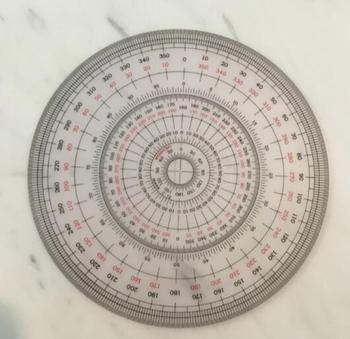 Bijoux gravure pierre gemme peint à la main outil pointu instrument de cercle complet rapporteur 360 degrés 12 cm de diamètre