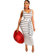 Sexy Sleeveless Striped Dress 2019 Summer New Womens Lace Up Black White