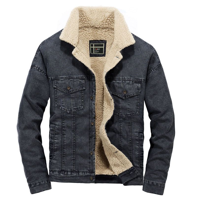 Winter Mens Fleece Denim Jacket Fashion Fur Thicken Warm Casual Jacket Coat Men Fat Slim Overcoat EUR Size S-2XL AYLGY001