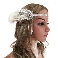 Moda Das Mulheres Do Vintage Meninas Pena De Cor Prata de Strass Borla Headband Faixa de Cabelo Cocar