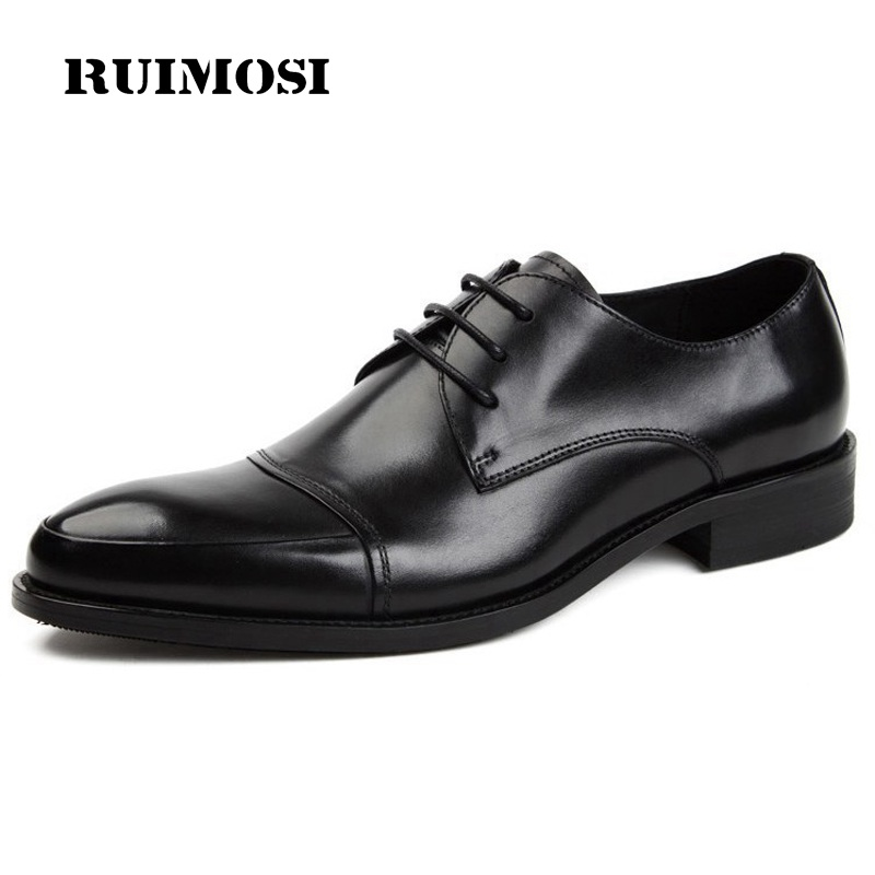 RUIMOSI Fashion Pointed Toe Cap Top Man Formal Wedding Dress Shoes Genuine Leather Male Oxfords Derby Men's Bridal Flats EI37