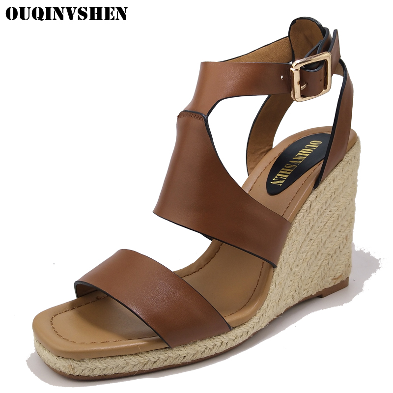 Brown Genuine Leather Wedges Shoes For Women 2017 Spring The New Wedges Rubber Sole Women Sandals