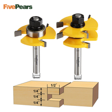 FivePears 2pc/set 8mm Shank Tongue And Groove Joint Assembly Router Bit Set 3/4 Stock Wood Cutting Tool