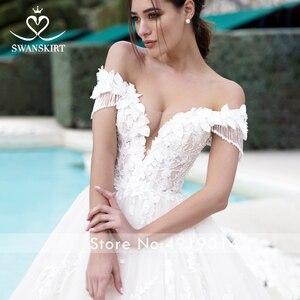 Image 3 - Swanskirt sevgiliye balo cüppe şeklinde gelinlik kapalı omuz boncuklu aplikler 3D çiçekler prenses gelin Vestido de Noiva K175