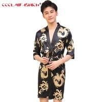 Для мужчин роскошные шелка с принтом дракона Халаты традиционной мужской пижамы ночное белье кимоно с повязкой Ванна платье Для мужчин S Ха...