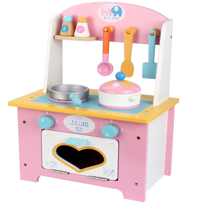 Baby Toys Pink Cooking bench Wooden Toys Child Simulation Pretend Play Kitchen Toys gift children girl toys play house kitchen cooking simulation kitchen cooking playsets baby nursery baby playing housecozinha