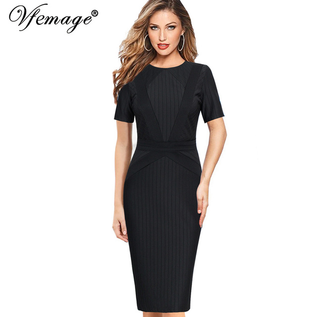 Vfemage mujeres elegante patchwork rayas túnica casual trabajo oficina de  negocios partido bodycon vestidos vestido lápiz e4b8be5a247d