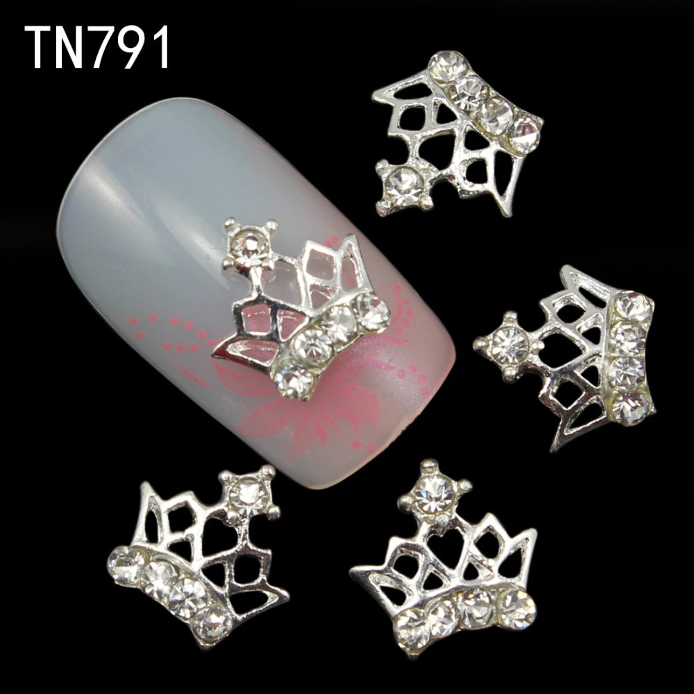10pc 3d Glitter Crown Alloy Nail art with Rhinestones Charms,3d nail art stickers decoration,2017 nail jewelry supplies TN791 10pcs glitter crystal nail gem rhinestones alloy 3d nail art jewelry diy phone case decoration mns784