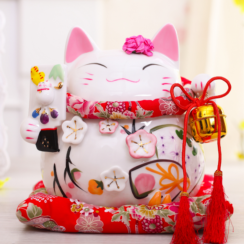 8 inch Maneki Neko Ceramic Chinese Lucky Cat Beckoning Fortune Cat Figurines Lucky Charm Money Box