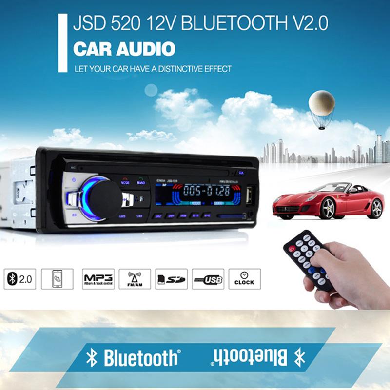 Prix pour Voiture Stéréo JSD520 Bluetooth V2.0 12 V Au tableau de bord 1 Din FM De Voiture Radio ISO puissance Entrée Aux Récepteur SD USB MP3 MMC WMA Autoradio Lecteur