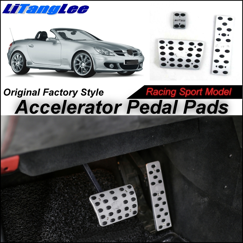 LitangLee Car Accelerator Pedal Pad Cover Sport Racing Design For Mercedes Benz SLK MB R171 R170 1996~2010 AT Foot Pedal Cover платье sela цвет голубой dks 117 1183 8131 размер xs 42