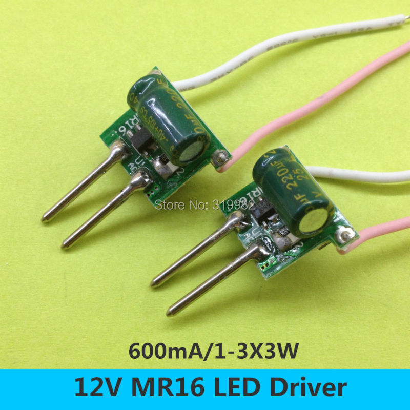 20 PCS <font><b>MR16</b></font> 2pin <font><b>12V</b></font> <font><b>LED</b></font> Driver 1-3X3W Low voltage Transformer 2 feet 600MA Constant Current 3W 9W High Power Lamp Transformer