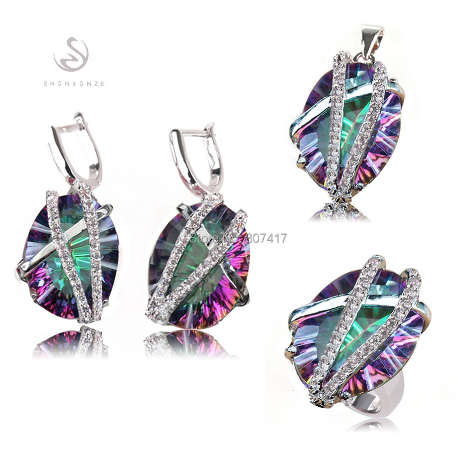 SHUNXUNZE Charm Rainbow stone and White Cubic Zirconia silver Plated jewelry heart set ring earring pendant