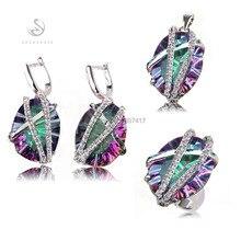 Arc – en – pierre et blanc cubique zircon bijoux en argent plaqué meilleures ventes coeur set ( anneau / boucle d'oreille / pendentif ) 3314 conjunto sz6 7 8 9