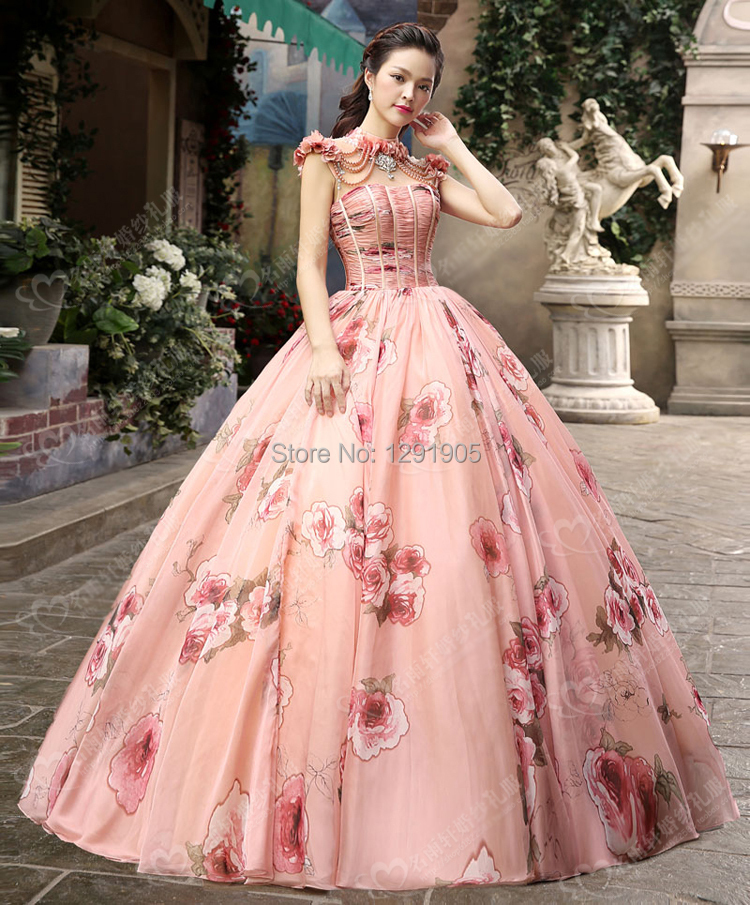 rose floral beading luxury medieval dress ball gown siss princess ...