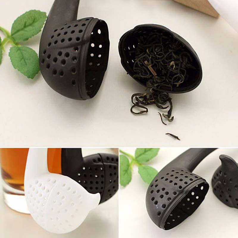 New Novelty Gift Swan Spoon Tea Strainer Infuser Teaspoon Filter Creative Plastic Tea Tools Kitchen Accessories K0269