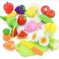 New baby toys diy comida de plástico de cozinha vegetal fruto de corte toys crianças pretend play toy educacional cozinheiro cosplay para chiledren