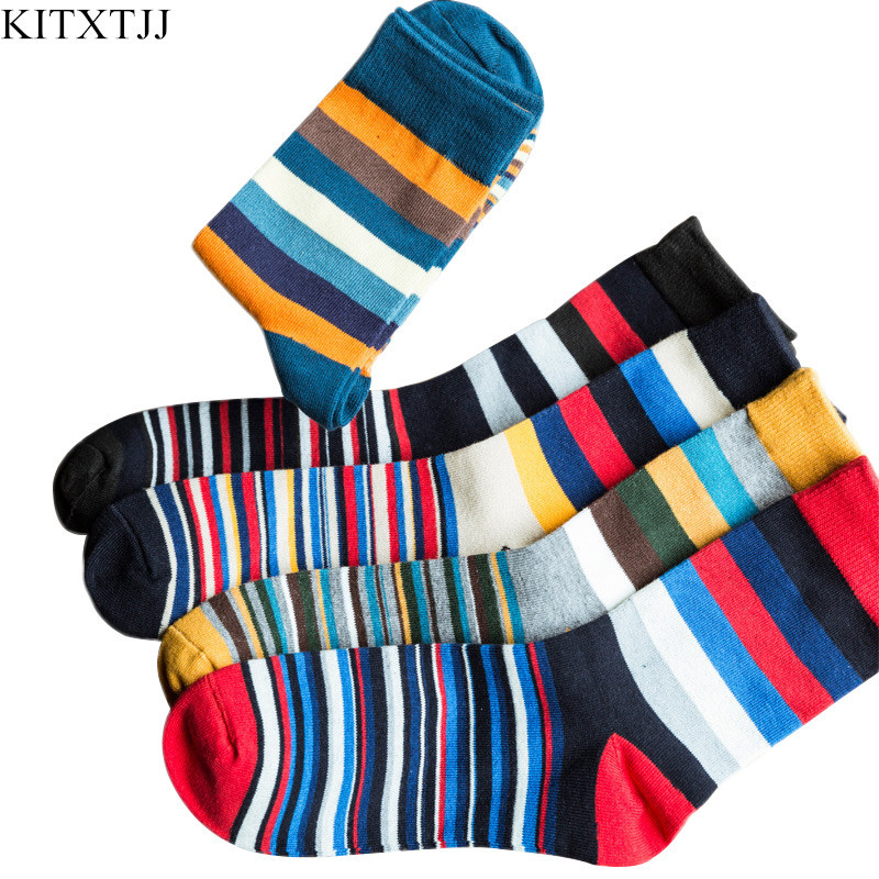 New Fashion Socks Men Male Cotton Crew Striped Pattern Dress Brand Sock Happy Novelty Calcetine Sox Business Big Size Wholesale