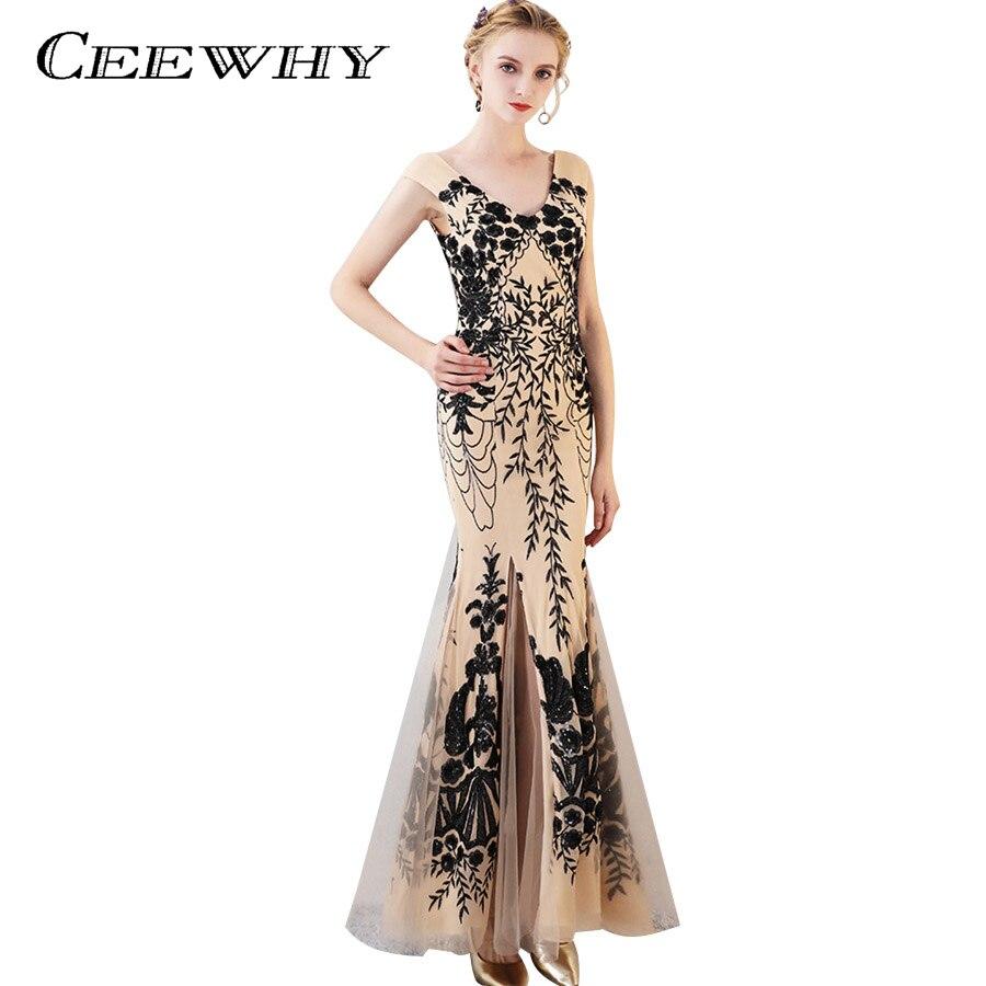 CEEWHY Floral motif Galajurken Lang paillettes robes de soirée sirène robes de soirée robes de bal Robe de soirée Abendkleider